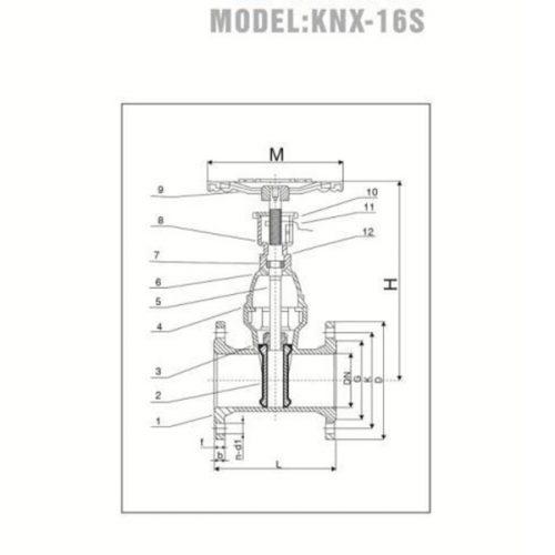 Bảng vẽ kỹ thuật van cửa tín hiệu YDK KNX-16S nhập khẩu chính hãng Hàn Quốc