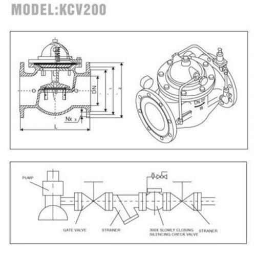 Bản vẽ kỹ thuật van giảm áp YDK KCV200 Hàn Quốc
