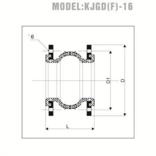 Bảng vẽ kỹ thuật khớp nối mềm mặt bích YDK PN 10/16 KJGD-16 Hàn Quốc
