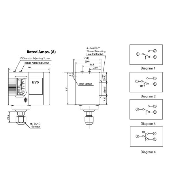 Bản vẽ kỹ thuật công tắc áp suất KVS PS-3622 nhập khẩu nguyên chiếc từ Thổ Nhĩ Kỳ
