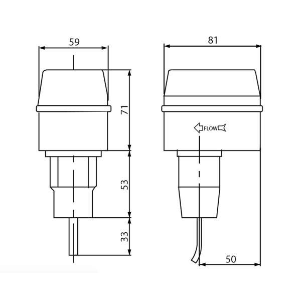 Bản vẽ kỹ thuật công tắc dòng chảy KVS FS-3621 nhập khẩu Thổ Nhĩ Kỳ giá tốt