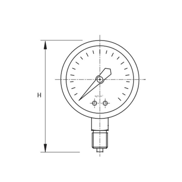 Bản vẽ kỹ thuật đồng hồ đo áp suất KVS P-260 nhập khẩu 100% Thổ Nhĩ Kỳ